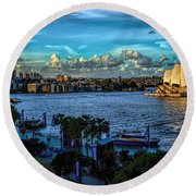 Sydney Harbor And Opera House Round Beach Towel