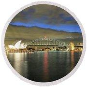 Sydney Harbor At Blue Hour Round Beach Towel