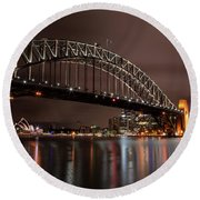 Sydney Harbor At Night Round Beach Towel