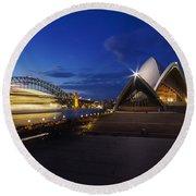 Sydney Opera House At Night Round Beach Towel