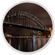 Sydney Harbor At Night With Train Round Beach Towel
