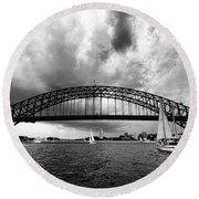 Sydney Harbor Bridge Black And White V2 Round Beach Towel