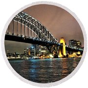 Sydney Harbor Bridge Night View Round Beach Towel