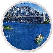 Sydney Harbor Bridge Round Beach Towel