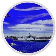 Sydney Harbour And Flying Flag Round Beach Towel