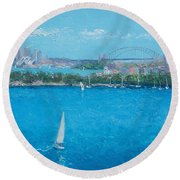 Sydney Harbour And The Opera House Vacation Round Beach Towel