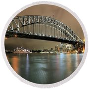 Sydney Harbour At Night Round Beach Towel