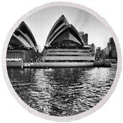 Sydney Opera House-black And White Round Beach Towel
