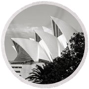 Sydney Opera House Black And White Round Beach Towel