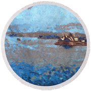Sydney Opera House From A Distance Round Beach Towel