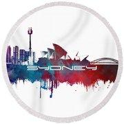 Sydney Skyline City Blue Round Beach Towel