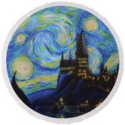 Syfy- Starry Night In Hogwarts Round Beach Towel