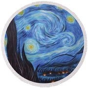 Syfy- Starry Night In Mordor Round Beach Towel
