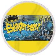 Sykotik And Pystoff Batman Round Beach Towel