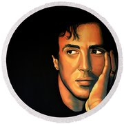 Sylvester Stallone Round Beach Towel by Paul Meijering