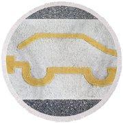 Symbol For Electric Car Round Beach Towel