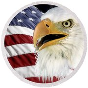 Symbol Of America Round Beach Towel by Teresa Zieba