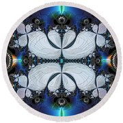 Symmetry In Circuitry Round Beach Towel