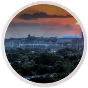 Syracuse Sunrise Round Beach Towel by Everet Regal