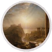 Syria By The Sea Round Beach Towel by Frederic Edwin Church