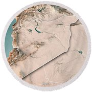 Syria Country 3d Render Topographic Map Neutral Border Round Beach Towel
