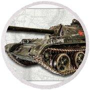 T-54 Soviet Tank W-bg Round Beach Towel