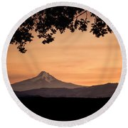 Mt. Hood At Sunset Round Beach Towel