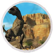 T-rex Round Beach Towel by Corey Ford