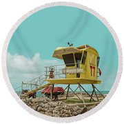 T7 Lifeguard Station Kapukaulua Beach Paia Maui Hawaii Round Beach Towel