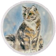 Tabby Cat Round Beach Towel