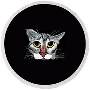 Tabby Eyes Round Beach Towel