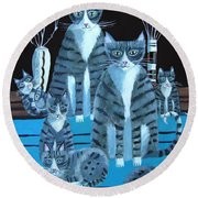 Tabby Family Round Beach Towel