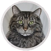 Tabby-lil' Bit Round Beach Towel by Megan Cohen