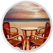 Table For Four At The Beach At Sunset Round Beach Towel