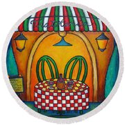 Table For Two At The Trattoria Round Beach Towel