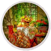 Table For Two In Ambiance Round Beach Towel