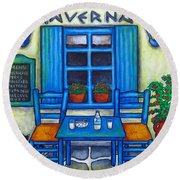 Table For Two In Greece Round Beach Towel