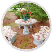 Table In The Garden Round Beach Towel