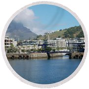 Table Mountain From The V And A Waterfront Quays Round Beach Towel