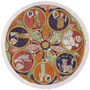 Table Of Planets Round Beach Towel