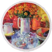 Table Reflections Round Beach Towel