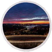 Table Rock Lake Night Shot Round Beach Towel