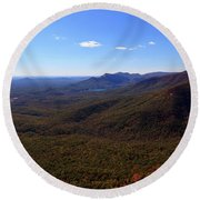 Table Rock Mountain From Caesars Head State Park In Upstate South Carolina Round Beach Towel