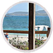 Table With A View Round Beach Towel
