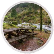 Tables By The River Round Beach Towel by Carlos Caetano