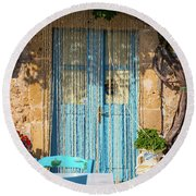 Tables In A Traditional Italian Restaurant In Sicily, Italy Round Beach Towel