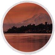 Tacoma Bay Mount Rainier Sunrise Round Beach Towel