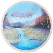 Tadpoling By The River Round Beach Towel