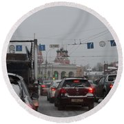 Taganskaya Square In Snow Round Beach Towel