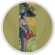 Tahiti Tryptic 1 Round Beach Towel